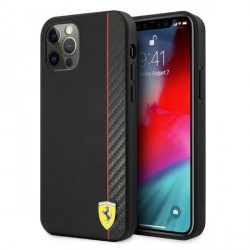 Ferrari iPhone 12 Pro Max Hülle Case Cover On Track Stripe Carbon Schwarz