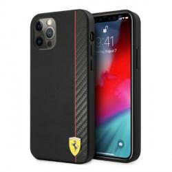 Ferrari iPhone 12 / 12 Pro Hülle Case Cover On Track Stripe Carbon Schwarz