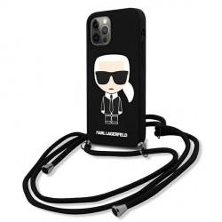Karl Lagerfeld iPhone 12 / 12 Pro Hülle Case Cover Leine Schwarz
