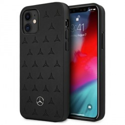 Mercedes iPhone 11 Hülle Case Cover Stars Pattern Echtleder Schwarz