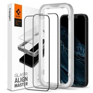 Spigen iPhone 13 Mini Glas schwarz 2 Pack EZ Fit + Montagerahmen