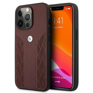 BMW iPhone 13 Pro Hülle Case Cover Curve Perforate Rot BMHCP13LRSPPR