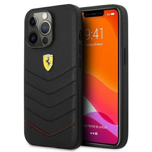 Ferrari iPhone 13 Pro Max Hülle Case Cover Off Track Echtleder Schwarz FEHCP13XRQUK