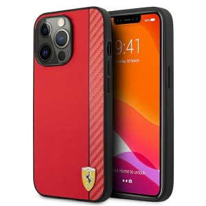 Ferrari iPhone 13 Pro Hülle Case Cover Carbon Stripe Rot