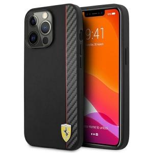 Ferrari iPhone 13 Pro Max Hülle Case Cover Carbon Stripe Schwarz
