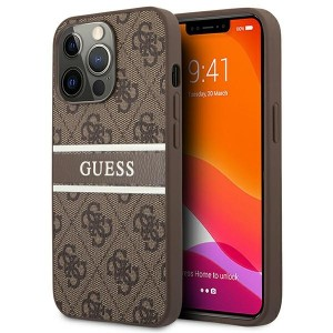 Guess iPhone 13 Pro Case Cover Hülle 4G Stripe Braun