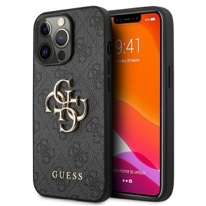 Guess iPhone 13 Pro Case Cover Hülle 4G Big Metal Logo Grau
