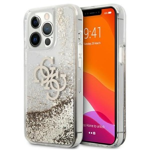Guess iPhone 13 Pro Case Cover Hülle 4G Big Liquid Glitter Gold