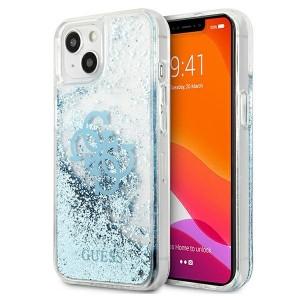 Guess iPhone 13 Hülle Case Cover 4G Big Liquid Glitter Blau