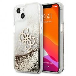 Guess iPhone 13 Case Cover Hülle 4G Big Liquid Glitter Gold