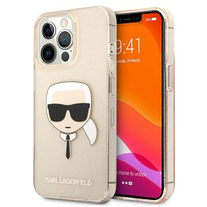 Karl Lagerfeld iPhone 13 Pro Case Cover Hülle Karl`s Head Glitter Gold