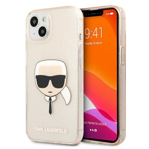 Karl Lagerfeld iPhone 13 Case Cover Hülle Karl`s Head Glitter Gold