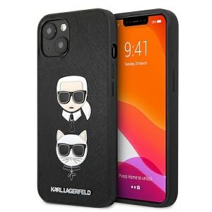 Karl Lagerfeld iPhone 13 Hülle Case Saffiano Karl / Choupette Schwarz