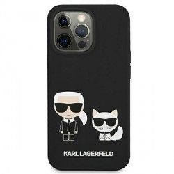 Karl Lagerfeld iPhone 13 Hülle Case Cover Silikon Karl & Choupette schwarz