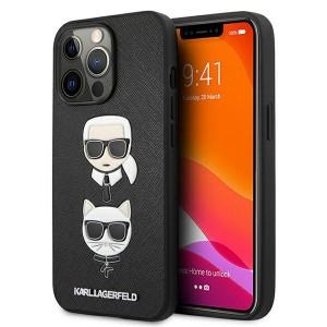 Karl Lagerfeld iPhone 13 Pro Max Hülle case Saffiano Karl / Choupette Schwarz