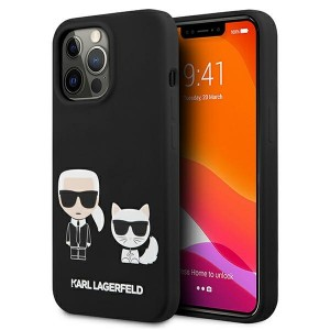 Karl Lagerfeld iPhone 13 Pro Max Hülle Case Cover Silikon Karl & Choupette schwarz