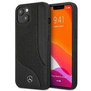 Mercedes iPhone 13 Hülle Case Cover Echtleder Area Schwarz MEHCP13MCDOBK