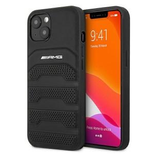 AMG iPhone 13 Hülle Case Cover Leder Debossed Lines Schwarz