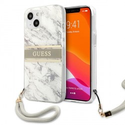 Guess iPhone 13 Hülle Case Cover Marble mit Schlaufe weiß / grau