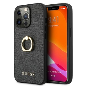 Guess iPhone 13 Pro Max Hülle Case Cover Grau 4G with ring stand