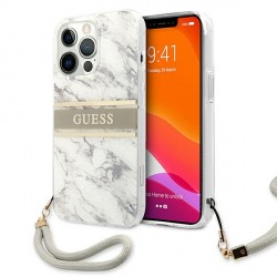 Guess iPhone 13 Pro Max Hülle Case Cover Marble mit Schlaufe weiß grau