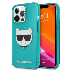 Karl Lagerfeld iPhone 13 Pro Hülle Case Cover Glitter Choupette Fluo Blau
