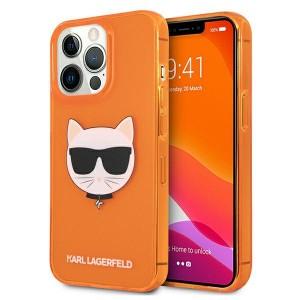 Karl Lagerfeld iPhone 13 Pro Hülle Case Cover Glitter Choupette Fluo Orange