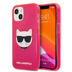 Karl Lagerfeld iPhone 13 mini Hülle Case Cover Glitter Choupette Fluo Pink