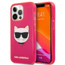 Karl Lagerfeld iPhone 13 Pro Max Hülle Case Cover Glitter Choupette Fluo Pink