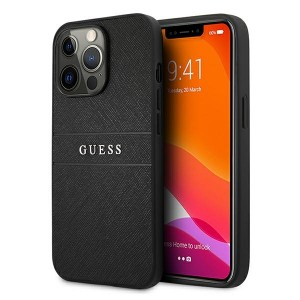 Guess iPhone 13 Pro Max Hülle Case Cover Saffiano Strap Schwarz