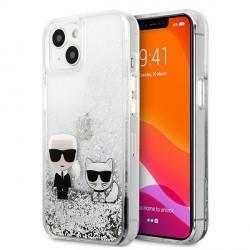 Karl Lagerfeld iPhone 13 Hülle Case Cover Liquid Glitter Karl & Choupette Silber
