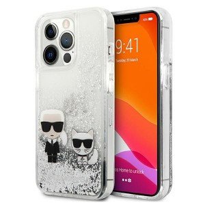 Karl Lagerfeld iPhone 13 Pro Max Hülle Case Cover Liquid Glitter Karl & Choupette Silber