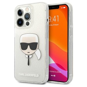 Karl Lagerfeld iPhone 13 Pro Max Hülle Case Cover Glitter Karl`s Head Silber