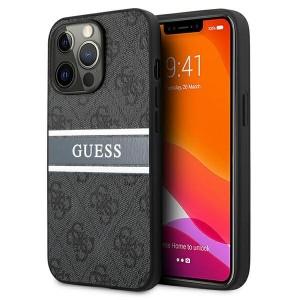 Guess iPhone 13 Pro Hülle Case Cover 4G Stripe Grau / Silber