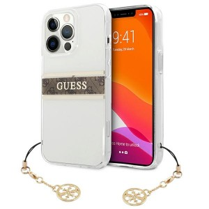 Guess  iPhone 13 Pro Hülle Case Cover Transparent 4G Brown Strap Charm
