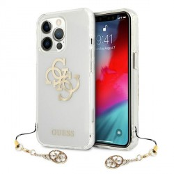 Guess iPhone 13 Pro Hülle Case Cover Transparent 4G Gold Charms