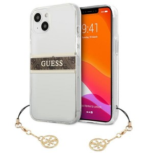 Guess  iPhone 13 Hülle Case Cover Transparent 4G Brown Strap Charm