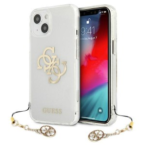 Guess iPhone 13 Hülle Case Cover Transparent 4G Gold Charms