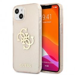 Guess iPhone 13 Hülle Case Cover Glitter 4G Big Logo Gold