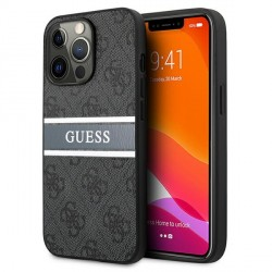 Guess iPhone 13 Pro Max Hülle Case Cover 4G Stripe Grau / Silber