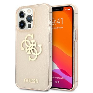 Guess iPhone 13 Pro Max Hülle Case Cover Glitter 4G Big Logo Gold