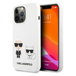 Karl Lagerfeld iPhone 13 Pro Hülle Case Cover Weiß Silikon Karl & Choupette