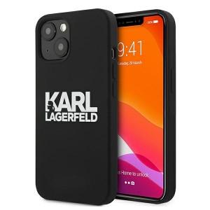 Karl Lagerfeld iPhone 13 Hülle Case Cover Silikon Schwarz Stack Logo