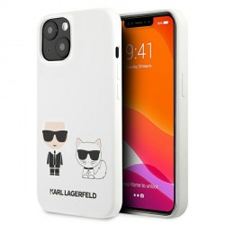 Karl Lagerfeld iPhone 13 Hülle Case Cover Weiß Silikon Karl & Choupette