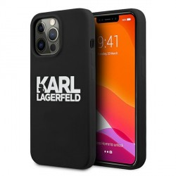 Karl Lagerfeld iPhone 13 Pro Max Hülle Case Cover Silikon Schwarz Stack Logo