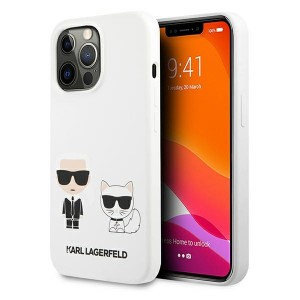 Karl Lagerfeld iPhone 13 Pro Max Hülle Case Cover Weiß Silikon Karl & Choupette