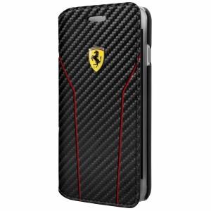 Ferrari Pit Stop Carbon Tasche / Book Cover FESCAFLBKP7LBK iPhone 8 Plus / 7 Plus Schwarz