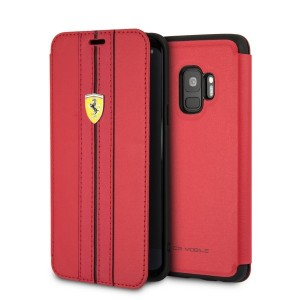 Ferrari Ledertasche FESURFLBKTS9REB Samsung Galaxy S9 Rot