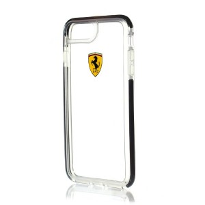 Ferrari Shockproof Hülle FEGLHCP7LBK iPhone 8 Plus / 7 Plus Transparent Schwarz