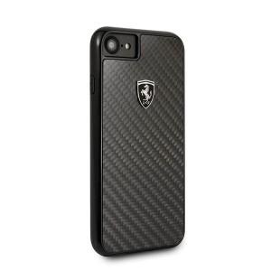 Ferrari Carbon Hülle iPhone SE 2020 / iPhone 8 / 7 Schwarz FEHCAHCI8BK